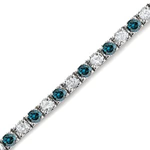 5 CT White & Blue Diamond Bracelet 14K White Gold
