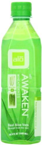ALO Awaken Aloe Vera Juice Drink, Wheatgrass, 16.9 Ounce (Pack of 12)