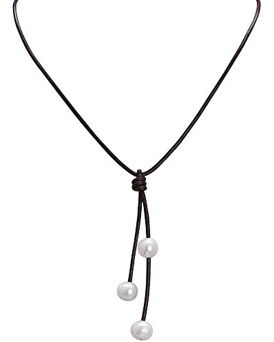 Women's Cultured Freshwater Pearl Necklace with Leather Cord Custom Adjustable Jewelry 18'' Brown (Custom Jewelry Necklace compare prices)