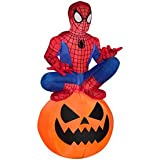 3.5 ft Tall Marvel Ultimate Spider-Man Airblown Inflatable Spiderman sitting on Pumpkin Halloween Lighted Decoration