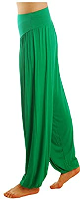 JustinCostume Womens Modal Elastic Waistband Fitness Yoga Harem Pants, Green, M
