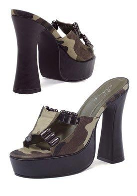 5 inch Chunky Heel Mule Women's Size Shoe With Camo Fabric and Faux Bullet D?cor