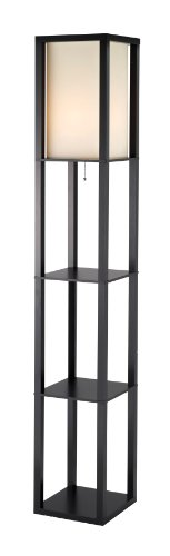 Adesso 3193-01 Titan Real Wood Tall Shelf Floor Lamp