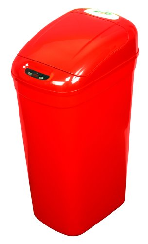 NST Nine Stars DZT-33-1R Infrared Touchless Automatic Motion Sensor Lid Open Trash Can, Red, 8.7-Gallon (Nst Garbage Can compare prices)