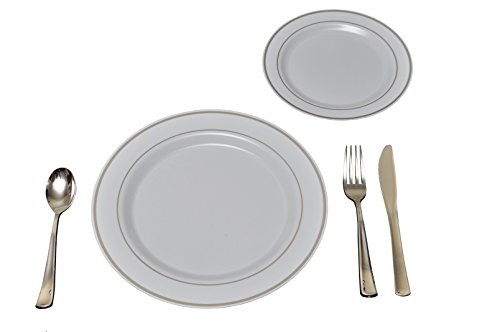 25 Heavyweight Elegant Plastic Disposable Place Settings: 25 Dinner Plates, 25 Salad or Dessert Plates & 25 Polished Silver Plastic Forks Knives & Spoons (Dessert Plastic Silver Spoon compare prices)