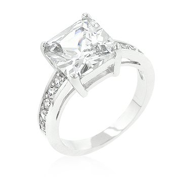 J Goodin Classic Princess Cut Raised Pave Engagement Ring Size 8