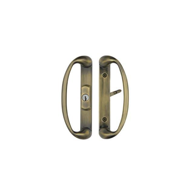 Sonoma Sliding Glass Door Handle with Center Keylock, Durable hardware door locks, door handles, door hardware in Antique Brass Finish