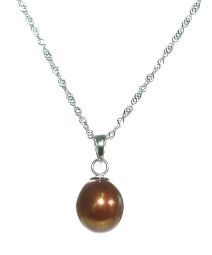 Elegant 925 Sterling Silver high-luster 9.0-11.0mm Black Pearl Women Necklace - 17.3 inch