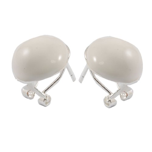 Rosallini Pair White Mushroom Pendant Metal Stud Earrings for Women
