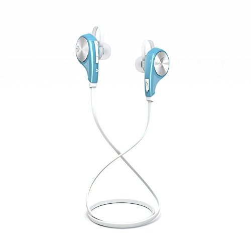 ZARE Bluetooth V 4.1 stereo headphones with integrated microphone, headset sports Anti Sweat, Wireless Bluetooth Headphones with noise reduction technology CVC 6.0 for iPhone, iPod, Samsung, Sony and other Bluetooth devices (White and Blue)
