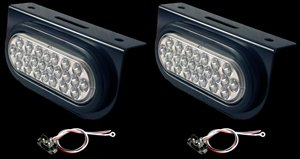 Set of 2 Clear Amber LED Strobe Lights 24 Diode Metal Brackets