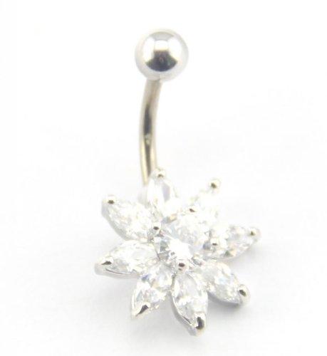 Baqi Cute Clear Crystal Flower Belly Button Navel Ring Bar Body Piercing Clear