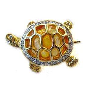24k Gold-Plated Swarovski Crystal Large Turtle Design Brooch/Pin
