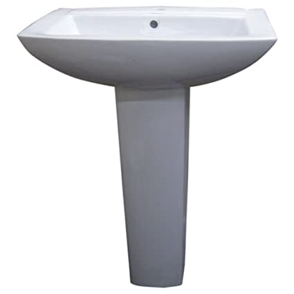 Fine Fixtures MI2319W1 Modern Square Single Hole Ceramic Pedestal Sink, White