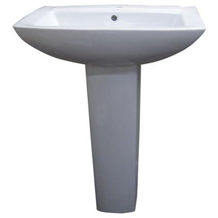 Fine Fixtures MI2319W1 Modern Square Single Hole Ceramic Pedestal Sink, White