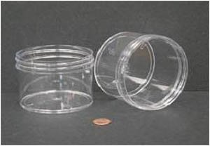 """Jar Wide Mouth 240mL (8oz) PS 89mm Opening 3 3/16 x 2 3/8"""" (Screw Cap Packaged Separat"""
