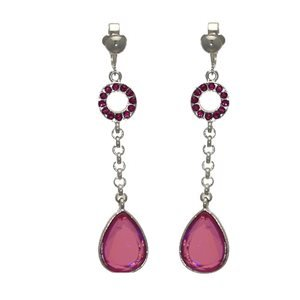 Connoiseur Silver Pink Crystal Drop Clip On Earrings