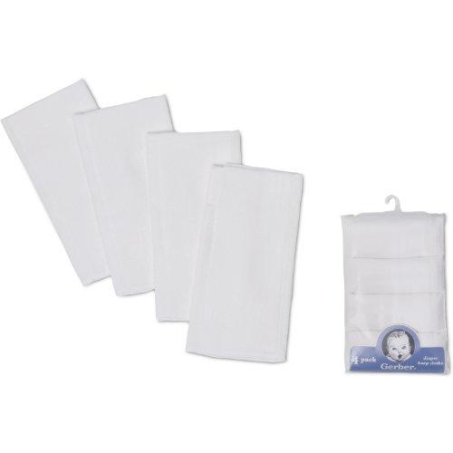 Gerber 4 Pack Prefold Birdseye Diaper,White