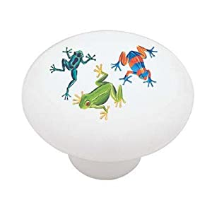 Jungle Frogs Decorative High Gloss Ceramic Drawer Knob