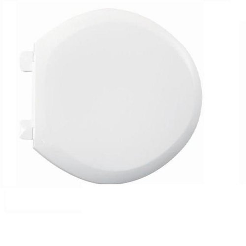 American Standard 5320.110.020 EverClean Round Front Plastic Toilet Seat with Cover and Slow Close Snap-Off Hinges, White