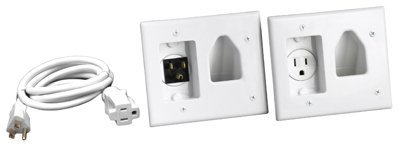 Rca Dh150F Rca In-Wall Power Install And Cord Management Kit For Wall Mounted Flat Panel Tvs, White