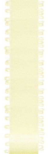 Offray Feather Edge Double Face Satin Craft Ribbon, 3/16-Inch Wide by 50-Yard Spool, Ivory