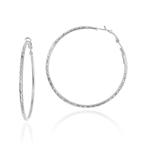 Sterling Silver 2.5&#215;60 Diamond-Cut Click Top Hoop Earrings