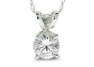 0.50 Ctw Solitaire Diamond Pendant With Chain GH/I1-I2 14K White Gold