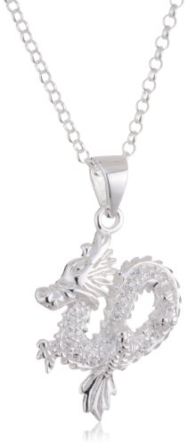 VINANI German 925 Sterling Silver Women Pendant Dragon with white Zirconia & Cable Link Chain Necklace 20″ ADS-T50