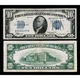 $10 Silver Certificate Blue Seal series 1934 Old U.S. Paper Money.