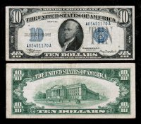 $10 Silver Certificate Blue Seal Series 1934 Old U.S. Paper Money.