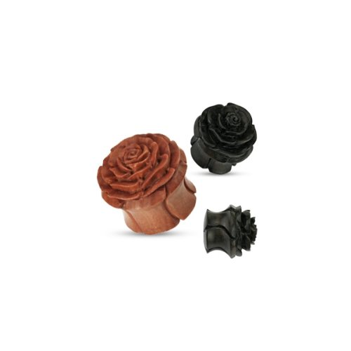 Urban Body Jewellery Brown Oraganic Wooden Rose Flesh Plug Hand Carved & Double Flared 10mm