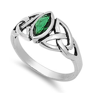 Sterling Silver Marquise Shaped Green Emerald May Birthstone Ring with Celtic Endless Knot Design Ring (8.75)