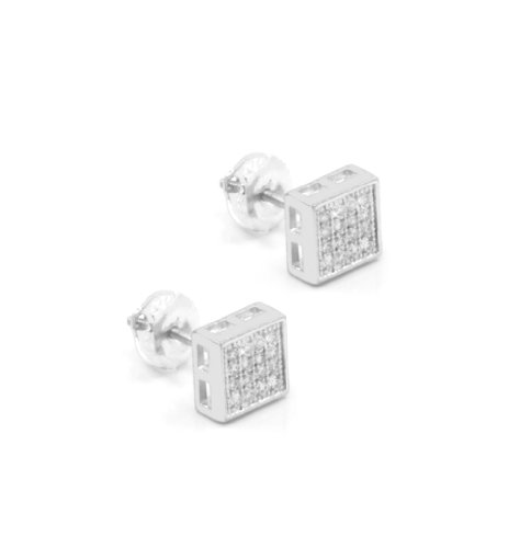 Mens 8Mm White Gold Plated Cz Micro Pave Iced Out Hip Hop Square Stud Earrings Screw Backs (5 Lines) 02
