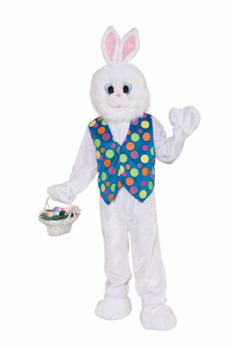 Forum Deluxe Plush Funny Bunny Mascot Costume, White, Standard