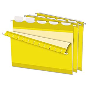 Hanging File Folders, Yellow, PK 25
