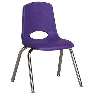 """14"""" Plastic Stack Classroom Chair Foot Type: Swivel Glide, Color: Purple front-973757"""