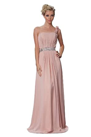 Romantic one shoulder bridesmaids long evening dress with for Dusky pink wedding dress