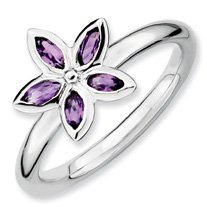 0.37ct Cherish Silver Stackable Amethyst Flower Band. Sizes 5-10 Available