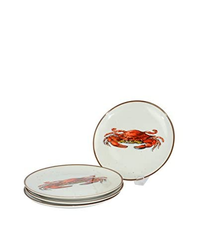Uptown Down Found Set of 4 Shrimp & Crab Ceramic Plates, Multi