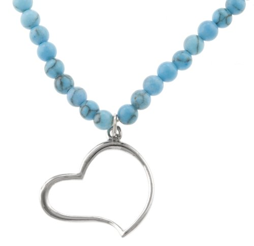 Sterling Silver Heart on Turquoise Beaded Necklace, 18