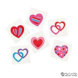 72 Colorful FUN HEART Temporary TATTOOS/VALENTINE'S DAY PARTY FAVORS/6 DOZEN/TEACHER'S Prizes