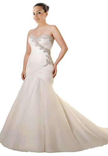 3162b2dc28b4 Mollybridal Sweetheart Bling Crystal Pleated Mermaid Plus size Wedding  Dresses White 16
