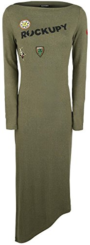 Rockupy Army Long Dress Abito verde oliva L