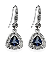 M&S Collection Platinum Plated Diamanté Vintage Style Drop Earrings