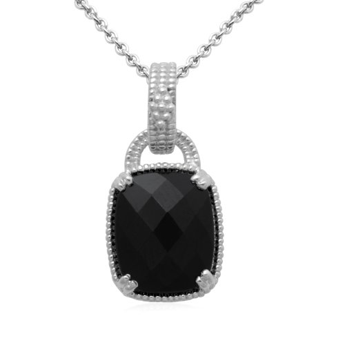Sterling Silver Cushion Onyx Pendant Necklace, 18