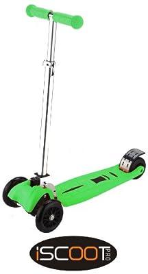 iScoot© Pro v2 Tilt Kickboard Mini T-Bar 3 Wheel Kick Scooter Bobbi Board for Boys / Girls / Children - Green