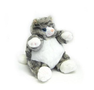 "Gray Tabby Cat Baby Plumpee Plush Toy 7"" H"