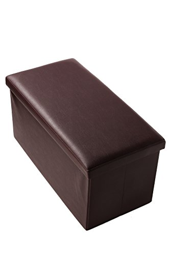 Faux, Folding, Wooden, Leather, Storage Ottoman / Bench 30 x 15 x 15 Inches, Brown by Juvale