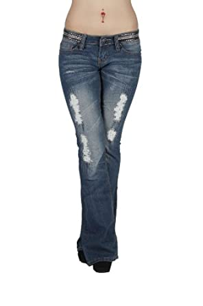 JS1424 -The Sexy Boot by dollhouse, Distressed Premium Flare Leg Jeans in Washed Blue Size 13